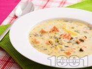 Картофена супа със сьомга и сметана